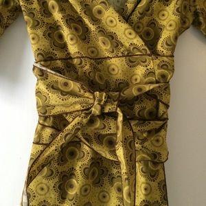 Kara line Dresses - Print wrap dress in gold and brown