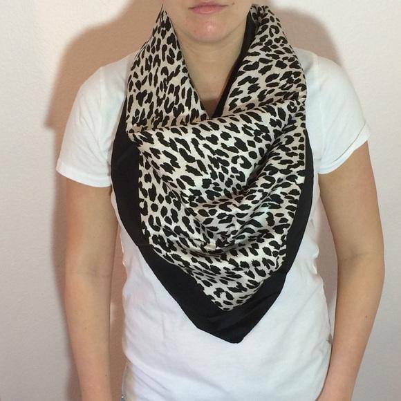 7deeaa878cf7 Valentino leopard print black and white silk scarf