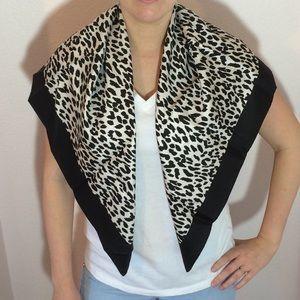 62418e803894 Valentino Accessories - Valentino leopard print black and white silk scarf