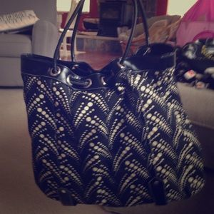 Handbags - Black & cream polka dot purse.