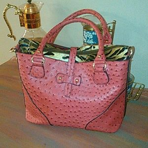 Hot Pink faux ostrich bag with tiger iPad insert