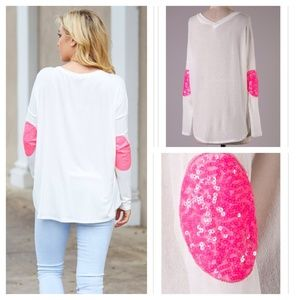 ❗COMING THURS❗ Pink Sequin Elbow Patch White Top