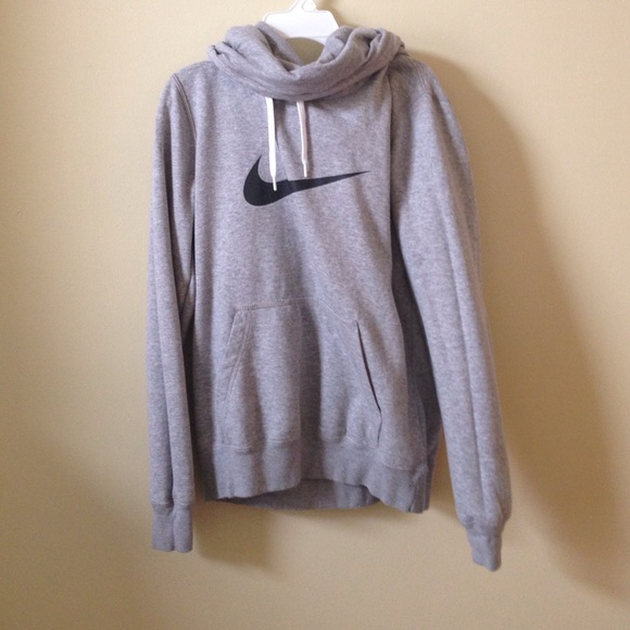 46% off Nike Sweaters - Grey NIKE Cowl-Neck Hoodie from ! lauren's ...