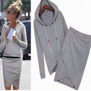 Grey sweatshirt and sweatskirt set