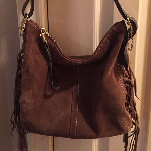 73% off Coach Handbags - Coach Suede Fringe Hobo Bag from ...