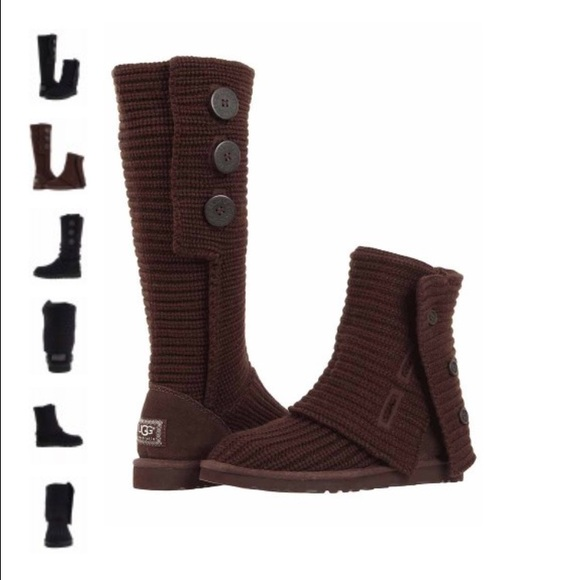 BROWN KNITTED UGG BOOTS WITH BUTTONS. M 55136601d3a2a71e3e000f8a f74da4f0c