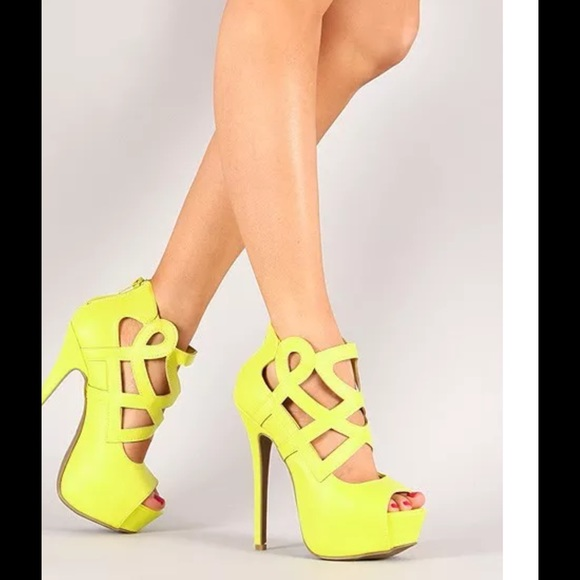 b2a4bbe4fe49 Lemon lime green yellow strappy platform pumps