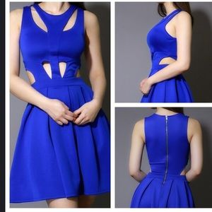 Blue dress with cut outs.