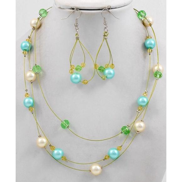 Multi Row Pearl Necklace: Multi Row Pearl Necklace & Earring Set
