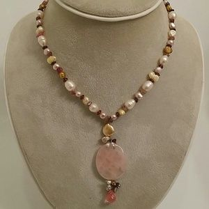Jewelry - Rose Quartz Crystal and Pearl Necklace 20""