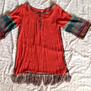 Tops - Orange patterned fringe shirt