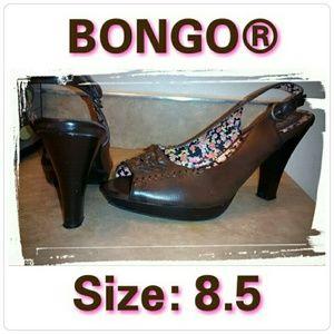 $5 SALE bongo Brown slingback peeptoe heels