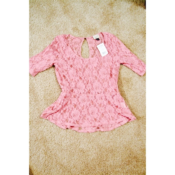 Kohls Tops Nwt Lace Dressy Pink Top Poshmark