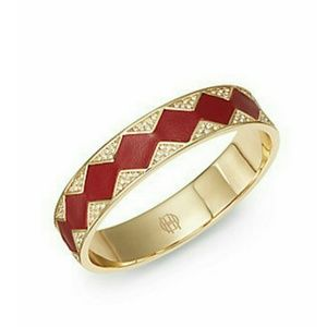 House of Harlow Zigzag Leather Pave Bracelet