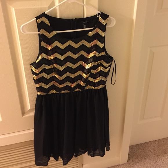 Gold Chevron Dress Forever 21