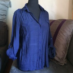 Poetry Tops - Semi Sheer Navy Blue Top