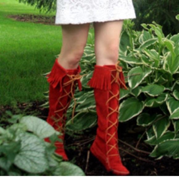 Red Minnetonka Lace Up Boots | Poshmark