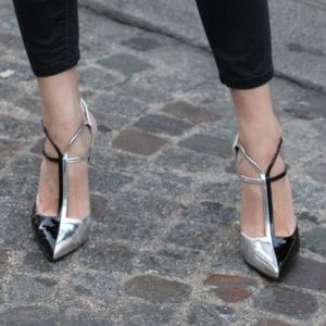 FENDI Black & Silver Laminata Statement Heels