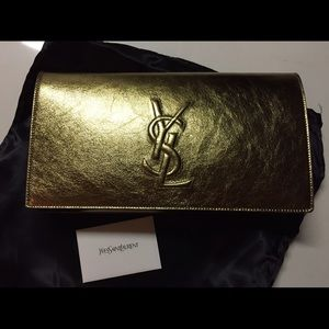 Saints Laurant YSL Logo gold clutch