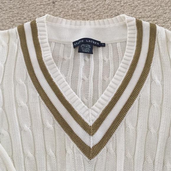 68% off Ralph Lauren Sweaters - Ralph Lauren tennis sweater cable knit gold v...