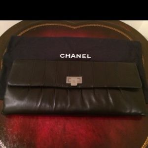 100% authentic Chanel lamb skin oversized clutch