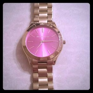 Michael Kors gold tone pink dial watch