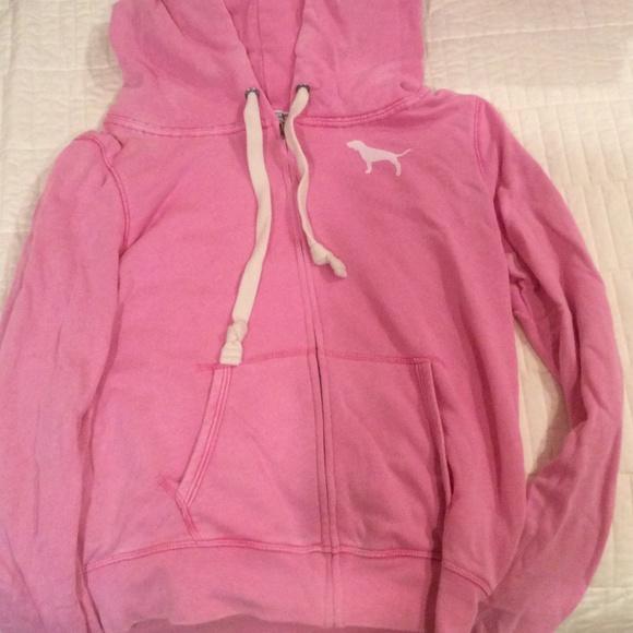 69% off PINK Victoria's Secret Tops - Light pink zip up hoodie ...