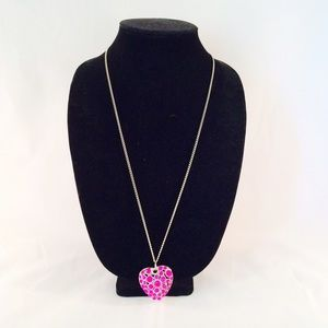 3D Pink Heart Necklace