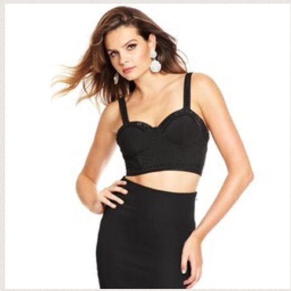 2f13bc787237b Guess by Marciano beaded black bustier crop top