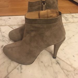 Zara high heel suede booties with platform