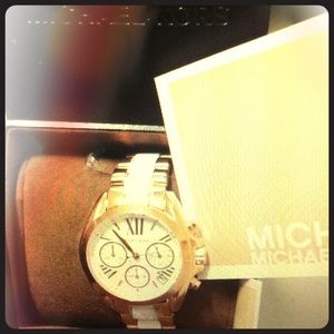 new Michael Kors MK gold white watch two tone