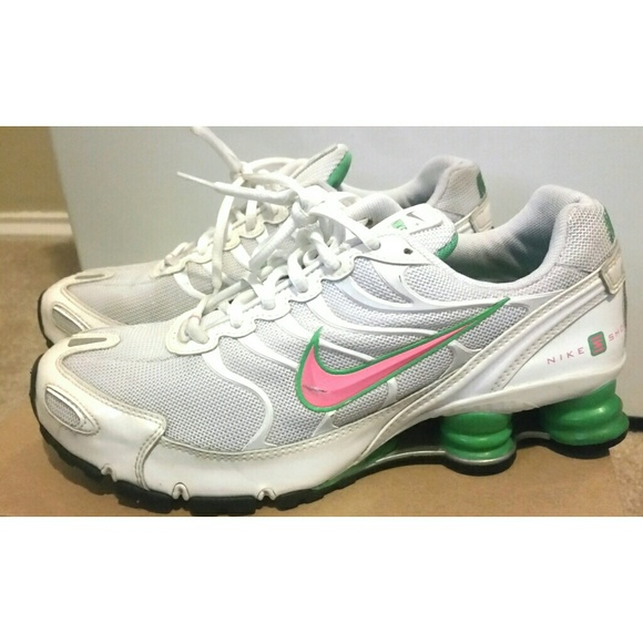 Nike Shoes - Nike Shox pink green and white size 9.5