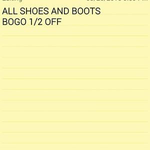 ***ALL SHOES AND BOOTS BOGO 1/2 OFF***