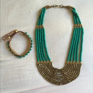Teal and Gold Beaded Statement Necklace