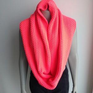 Neon pink knit circle scarf