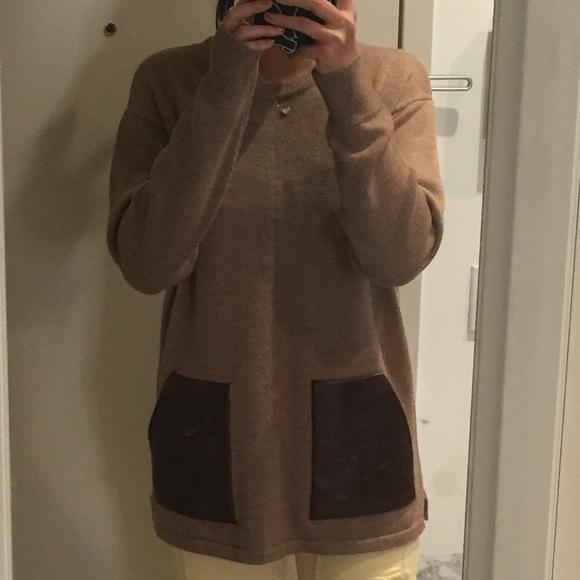 J. Crew brown 100%wool&faux leather block sweater