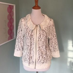 Super cute lace bomber jacket!