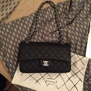 Chanel 2.55 Classic Flap Black Bag Silver Chain