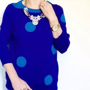 J Crew Blue Polka Dot Sweater Sz M