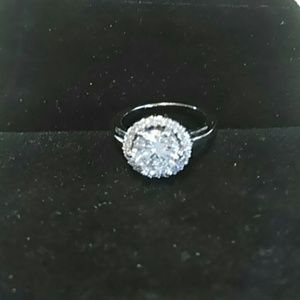 Silver Cz Halo Engagement Ring