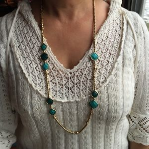 NWT Lucky Brand turquoise semi-precious necklace