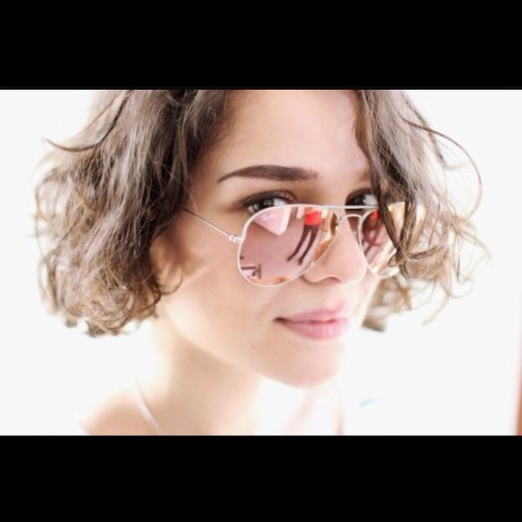 ray-ban aviator mirrored sunglasses brown/pink
