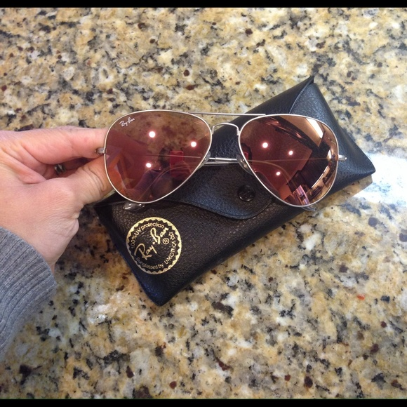 Ray Ban Aviator Brown Pink Mirror