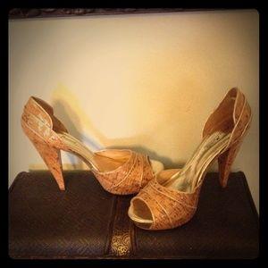 Anne Michelle Shoes - Anne Michelle/Woodgrain-Cork look High Heel