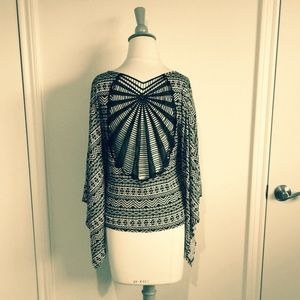 Tops - B&W Tribal Caftan Top + Crochet Back