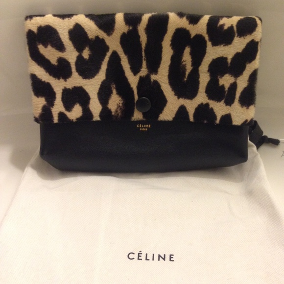 Celine - Celine All soft leather leopard pouch/clutch from ...