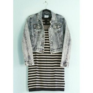 Acid-Wash Denim Jacket + Striped Sweater Dress