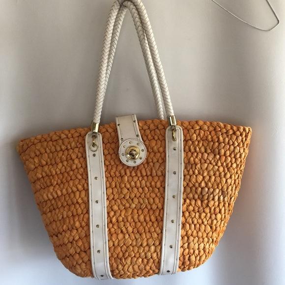 83% off XOXO Handbags - XOXO woven straw & leather summer purse ...