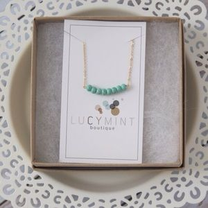 LucyMint Jewelry - Gold Filled Turquoise Magnesite Bead Bar Necklace