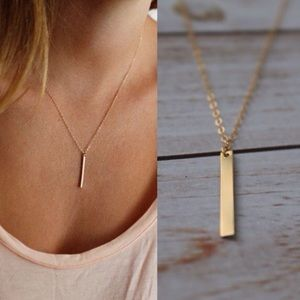 LucyMint Jewelry - Gold Filled Vertical Bar Necklace